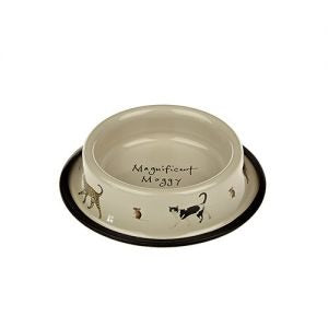 Cream Tin Cat Bowl.