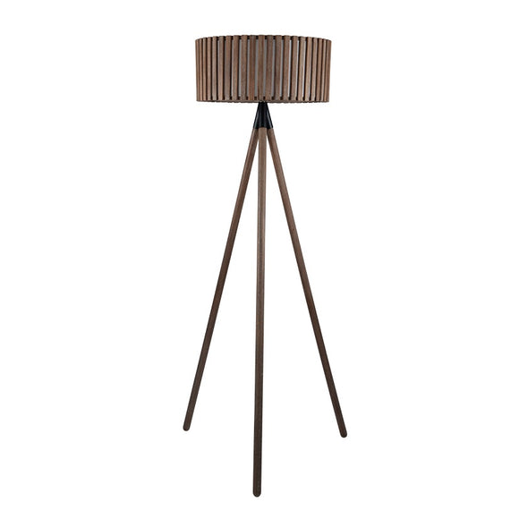 Antique Wood Slat Tripod Floor Lamp And Shade