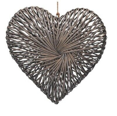 Grey Wicker Heart Medium