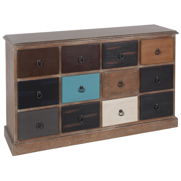 Loft Natural Driftwood 12 Draw Storage Unit