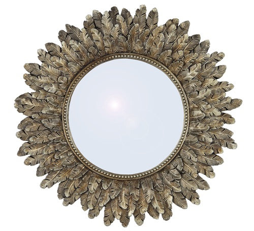 Feather Gold Round Mirror
