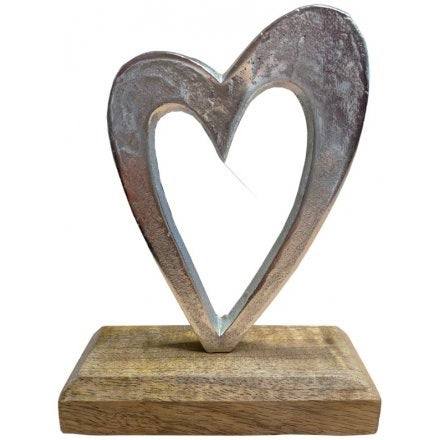 Silver Finish Metal Heart