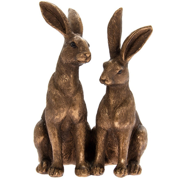 Bronzed Pair Of Hares
