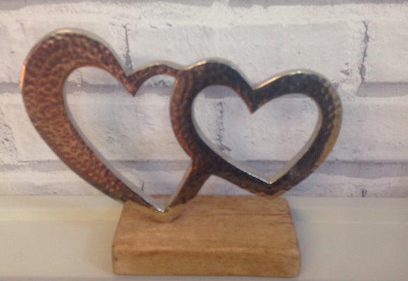 Metal Double Heart Decoration
