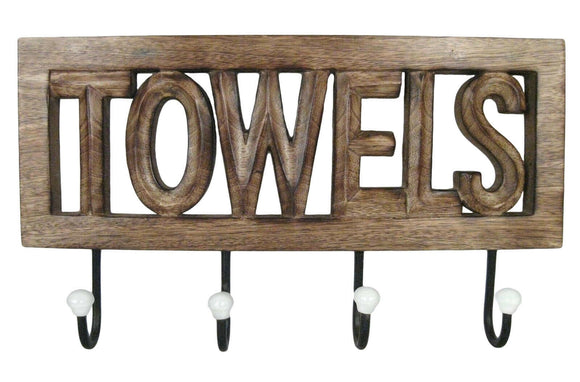 Wooden 'TOWELS' Wall Hook