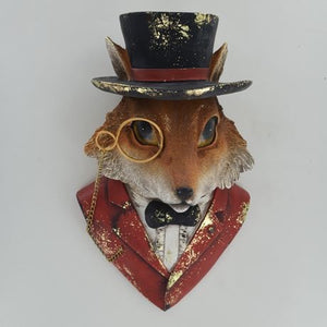 Hunting Fox Wall Bust Sculpture With Vintage Clothing