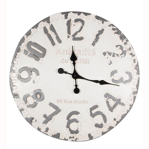 Distressed White And Grey Wall Clock