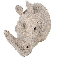 Crochet Cream Rhino Head Wall Art