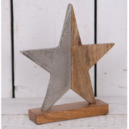 Large Aluminium Wooden Star