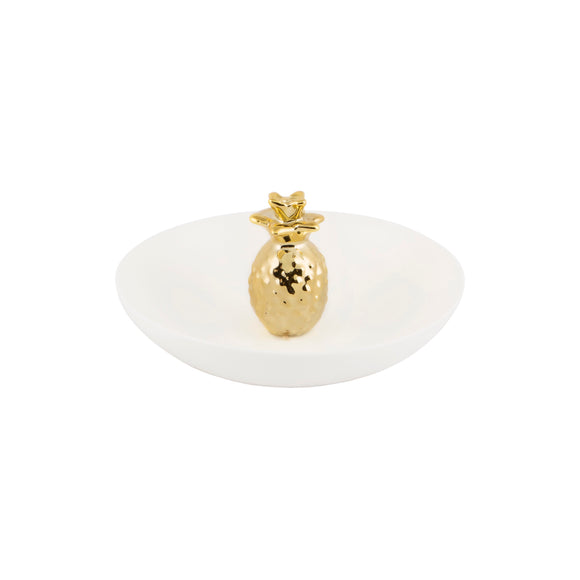 White Ceramic And Gold Pineapple Trinket Dish