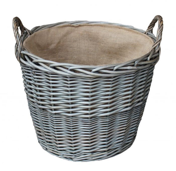 Extra Large Antique Wash Finish Wicker Lined Log Basket