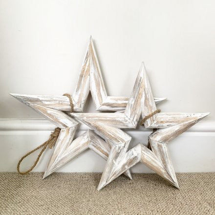 Large White Wash Wooden Hanging Star