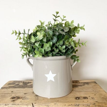 Small Grey Ceramic Pot With White Star Detail