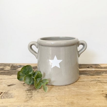 Medium Grey Ceramic Pot With White Star Detail