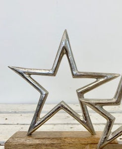 Aluminium Star On Wooden Block