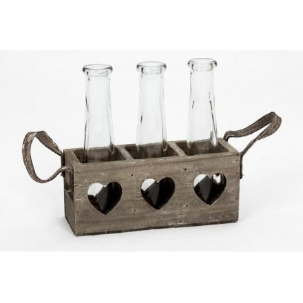 Triple Wooden Tray With Cut Out Hearts