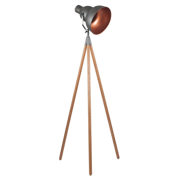 Grey Metal And Natural Wood Tripod Floor Lamp
