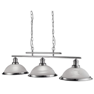 3 Light Pendant Ceiling Light Fitting In Satin Silver