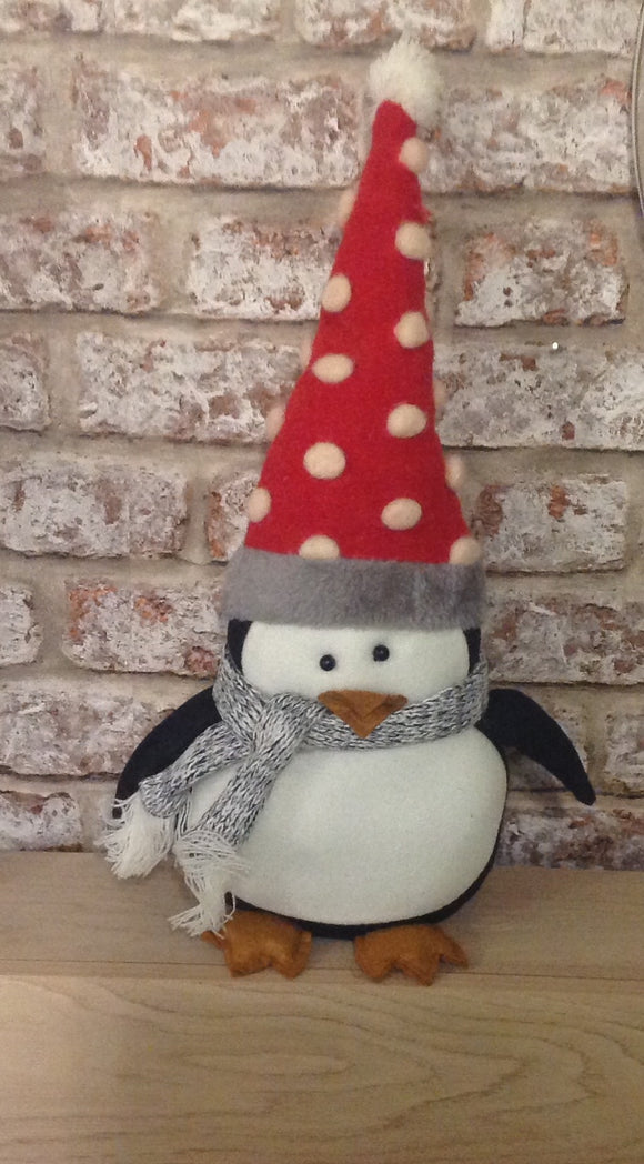 Fabric Penguin With Red Spot Pom Pom Hat