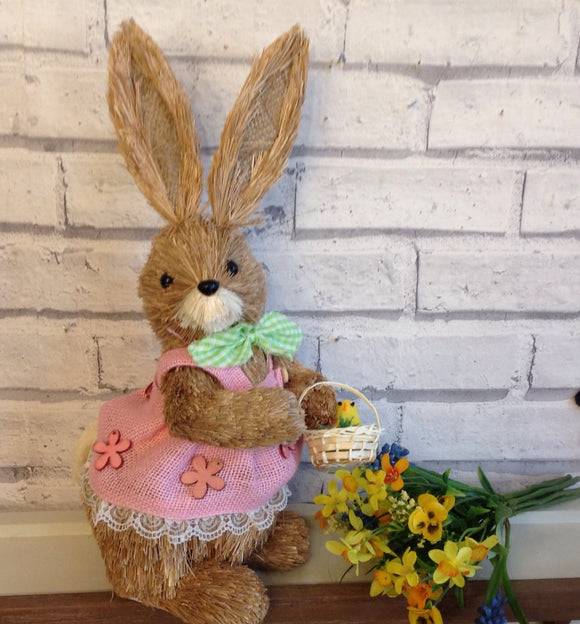 Bristle Straw Bunny With Flower Basket