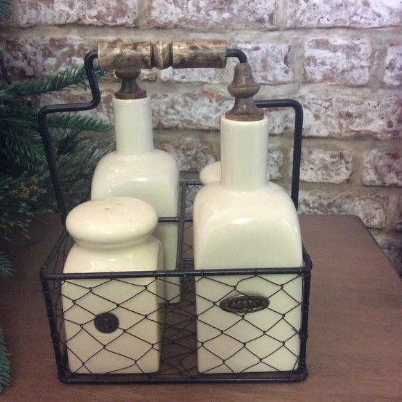Country Ceramic Condiments Set in Wire Basket