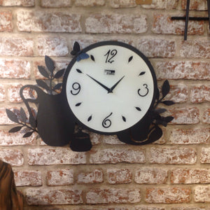 Novelty Metal Cup And Coffee Pot  Kitchen Wall Clock