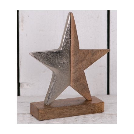 Medium Aluminium Wooden Star