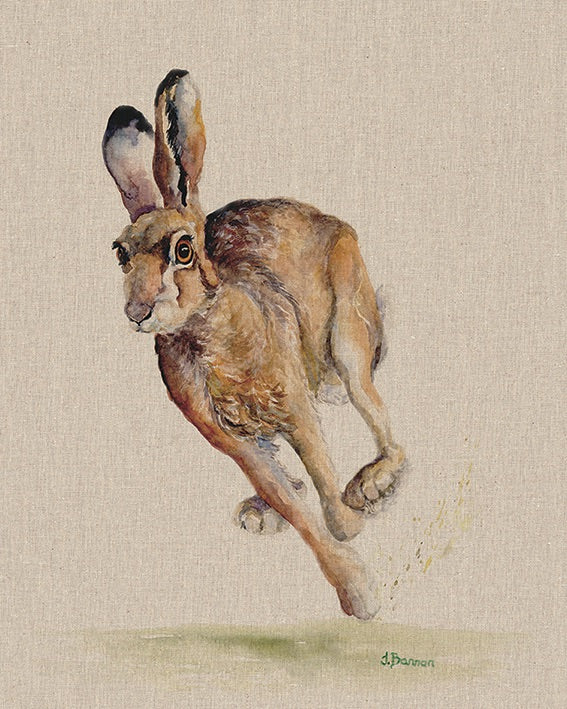 Holly Running Hare Canvas Picture