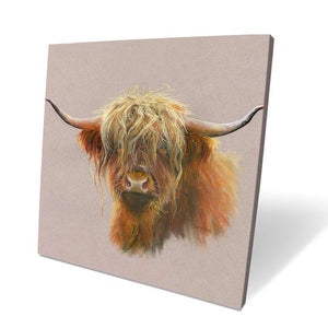 Mr Highland Cow Box Canvas Picture