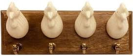 Country Ceramic Chicken Wall Hooks