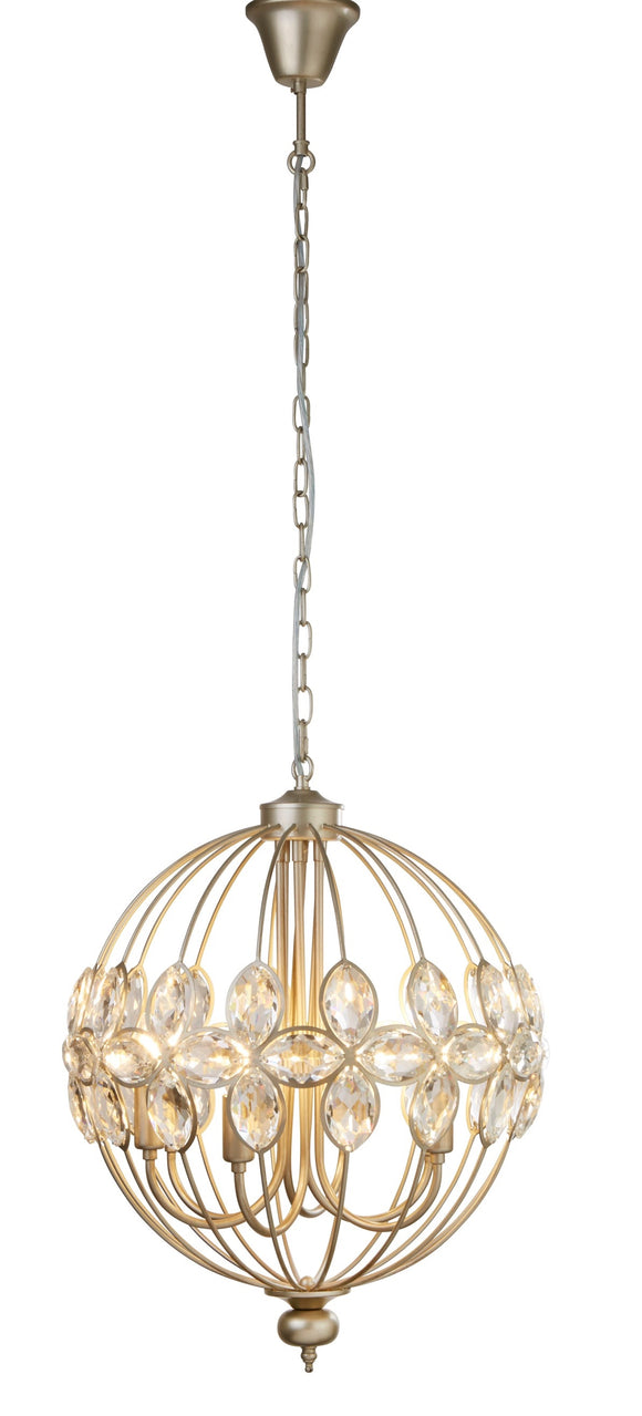 Champagne Crystal Pendant Light Fitting