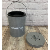 French Grey Metal Composter Caddy