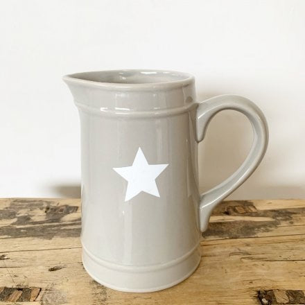 Tall Grey Ceramic Jug With White Star Detail