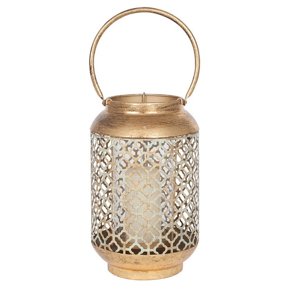 Small Antique Gold Metal Hurricane Lantern