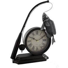 Metal Fishing Rod And Fish Mantel Clock