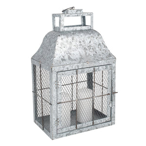 Galvanised Metal Small Oblong Lantern
