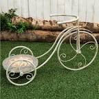 Cream Metal And Mosaic Bicycle Planter