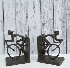 Metal Cyclist Bookends