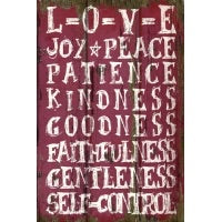 Wooden Wall Plaque With Love/ Joy / Peace