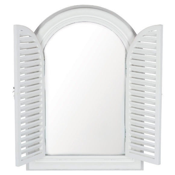 Brushed White Wood Door Design Mirror