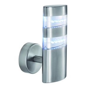 LED Satin Silver Outdoor Wall Lamp
