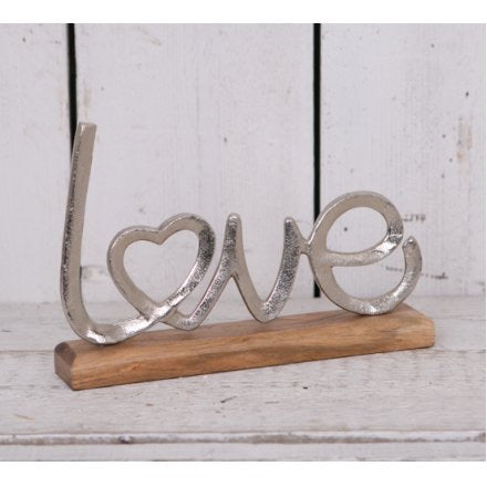 Metal And Wood ' Love ' Ornament