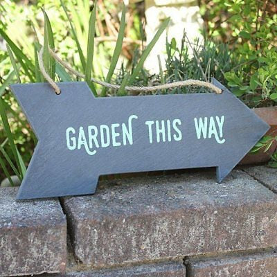 Slate Arrow Shape Garden Sign