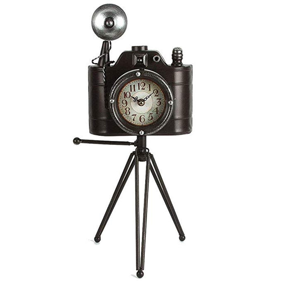 Metal Camera Clock On Tripod
