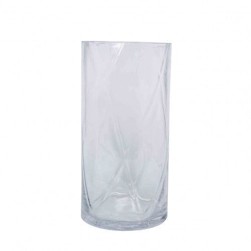 Wave Clear Glass Optic Vase Small