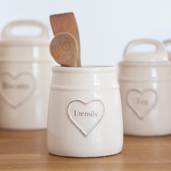 Shabby Chic Cream Utensil Jar With Heart Detail