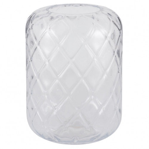 Small Quadrant Cut Clear Glass Vase