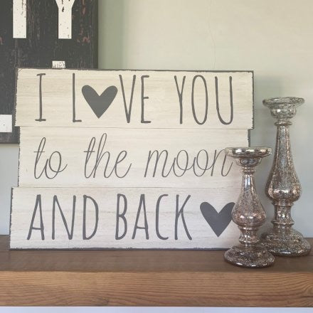 I Love You The Moon Wall Panel Plaque