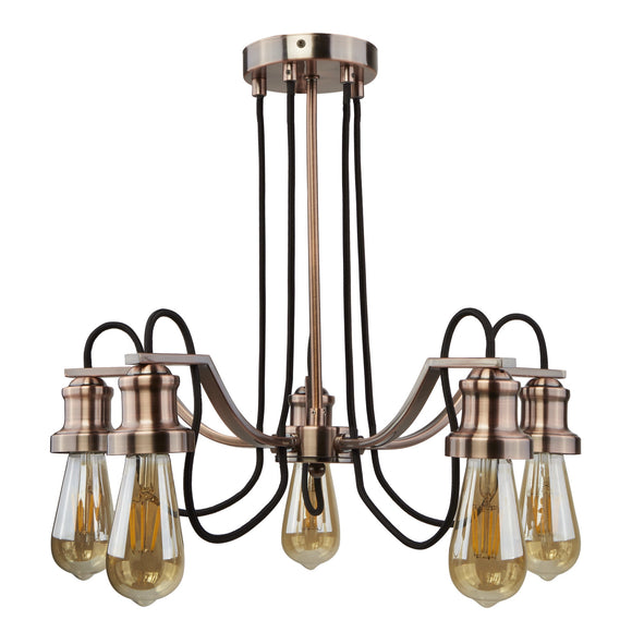 Olivia 5 Light Fitting Antique Copper Finish