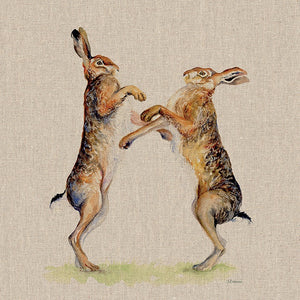 Boxing Hares Canvas Picture